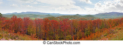 Appalachian Mountains autumn colors - Wide panorama of the...