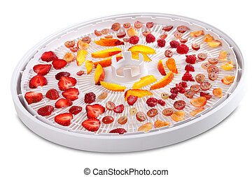 Slices of fruits and berries on dehydrator tray. Isolated on...
