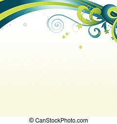 vector beautiful wave with floral art