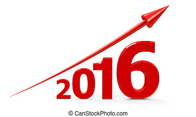 Red arrow up with 2016