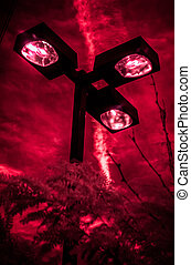 Red Infrared photo of Street Lights - Red Infrared photo of...
