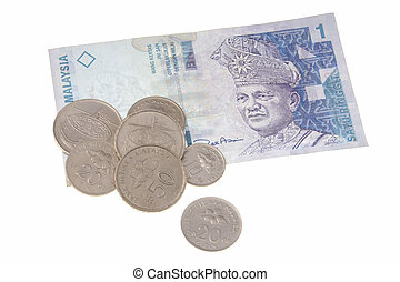 Malaysian currency - Malaysian coins and banknotes isolated...