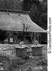 Traditional style Japanese village with period thatched buildings in the background. Black and White. Takayama - Japan