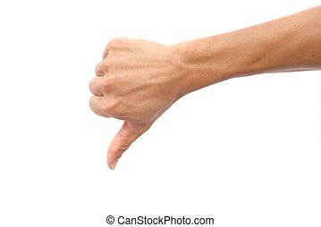 Hand shown thumb down symbol on isolated white background...