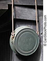 Rustic metal pan hanging on a wall