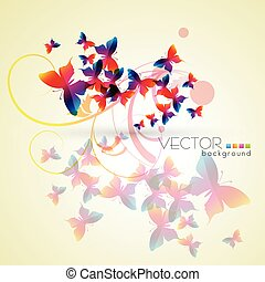 butterfly background - Bunch of butterly flying. Vector...