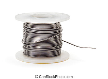 Soldering wire - Roll of thin soldering wire on white...