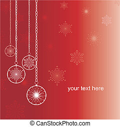 Merry christmas Card - Christmas flakes on a red background,...