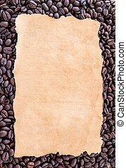 Old paper on coffee beans background