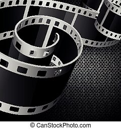 film reel - vector film reel on dark carbon background