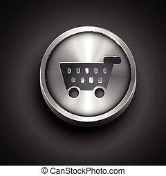 shoping cart icon - vector metallic shopping cart icon...