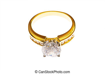 Golden ring with diamond isolated on the white
