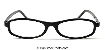 eye glasses isolated on white background with copyspace