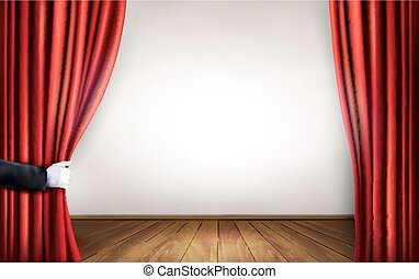Background with red velvet curtain and hand Vector...