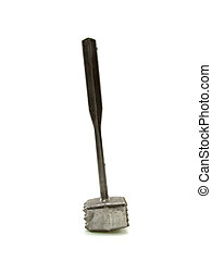 Silvery metal kitchen hammer isolated on a white background