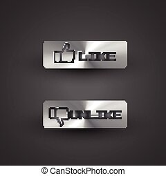 like button - vector metal style like button