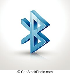 bluetooth icon - vector 3d bluetooth icon