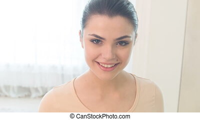 Smiling woman walking - I am so happy Life camera on young...