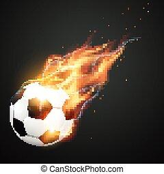 illlustration of burning football - vector illlustration of...