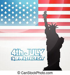 american flag vector - american flag with statue of liberty