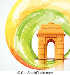 india gate - vector india gate with indian flag design