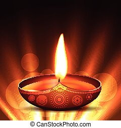 diwali diya - beautiful vector diwali diya placed on glowing...