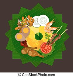 indonesia tumpeng rice traditional food yellow rice vector