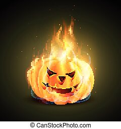 burning halloween pumpkin - vector burning halloween pumkin