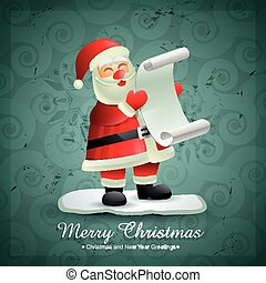 santa claus with list of gifts