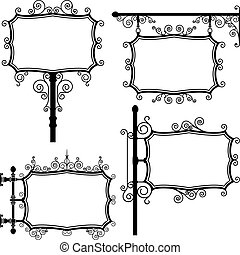Wrought iron sign - black and white wrought iron vintage...