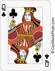 Queen of Clubs - Queen of clubs playing card (decorations in...