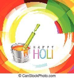 holi festival background with pichkari and bucket