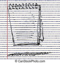 Sketch of a note pad - Hand drawn sketch of a note pad