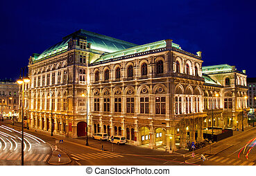 Vienna\'s State Opera House at night, Austria