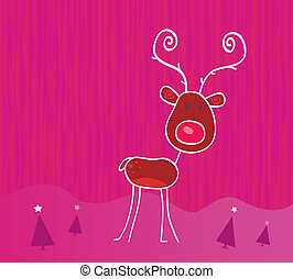 Doodle christmas reindeer Rudolph on snow - Red-nosed...