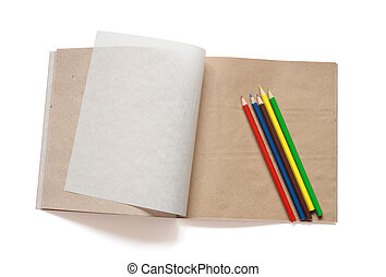 Sketchbook - Open sketchbook with blank page and colored...