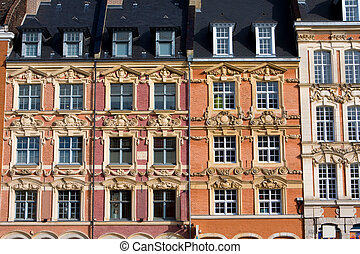 Historical houses at the Grand Place in Lille, France