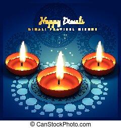 diwali festival greetung - beautiful shiny diwali festival...