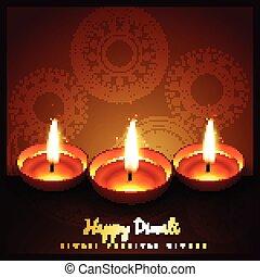 diwali festival greeting - beautiful diwali festival diya...