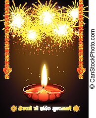 happy diwali greeting with fireworks