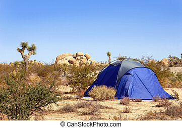 Camping Tent in the Mojave Desert - Camping tent set up in...