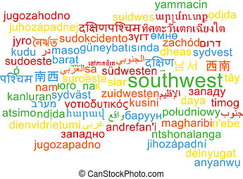 Southwest multilanguage wordcloud background concept -...