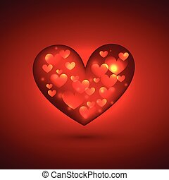 beautiful heart in red background