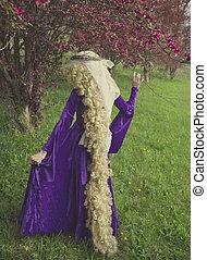 jovem, mulher, vestido, como, Rapunzel,