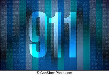 911 binary sign concept illustration design over blue