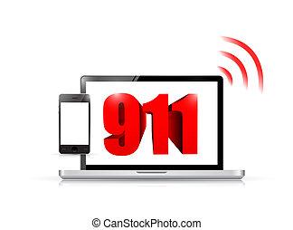 911 technology sign concept illustration design over white
