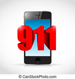911 phone sign concept illustration design over white