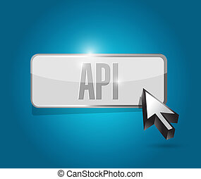 Api button sign concept illustration design over blue