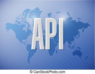 Api world sign concept illustration design over blue