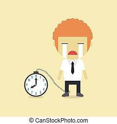 crying - a businessman crying with pendulum, flat style